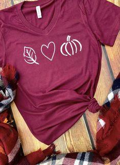 Fall Tshirt / Love Fall Tee / Fall Shirt / Pumpkin Shirt / Pumpkin Spice / Fall Fashion / Bella Canvas V Neck / Jersey / Autumn Tshirt - Holiday Shirts - Ideas of Holiday Shirts - Fall Tshirt / Love Fall Tee / Fall Shirt / Pumpkin Shirt / Fashion Bella, Autumn T Shirts, Vinyl Shirts, Funny Shirts, Diy Shirt, Fall Winter Outfits, Shirt Designs, Autumn Fashion, What To Wear