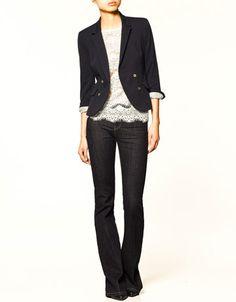 crossover blazer   with lace shell + dark flares   zara $80