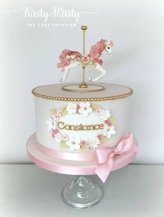 New Baby Girl Shower Cakes No Fondant Simple 32 Ideas Girl Shower Cake, Baby Shower Cakes, Fondant Cakes, Cupcake Cakes, Carousel Cake, Carousel Party, Carousel Birthday, Little Girl Cakes, Bolo Cake