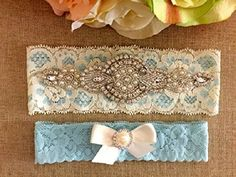 a7b101bf4 Amazon.com  Wedding Garter - Bridal Garter - Pearl and Crystal Rhinestone  Garter and Toss Garter Set with Light Blue and Ivory Lace  Handmade