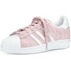 adidas Superstar Original Fashion Sneaker found on Polyvore featuring shoes, sneakers, adidas trainers, pink shoes, white shoes, lace up sneakers and adidas shoes