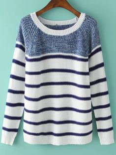 Blue White Round Neck Striped Knit Sweater