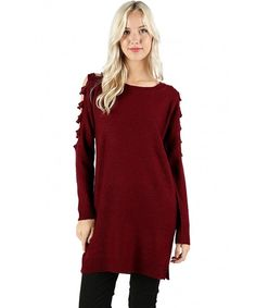 Women's Relax Fit Cutout Ladder Shoulder Tunic Sweater - Burgundy - CK185XGXYNX,Women's Clothing, Sweaters, Pullovers  #Sweaters #style #fashion #outfits #Pullovers