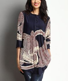 This Navy & Burgundy Cloud Notch Neck Pin Tuck Tunic is perfect! #zulilyfinds