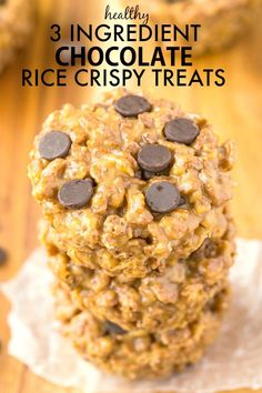 Healthy 3 Ingredient NO BAKE chocolate rice crispy treats which only take 5 minutes- Made with no butter, marshmallows or oil! {vegan, gluten free recipe}