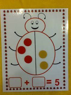 Free shake and spill ladybug math mats for 4, 5, and 6 and a blank mat to fill in your own number.