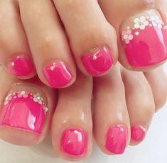 Flowers Toe Nail Color, Toe Nail Art, Nail Colors, Pretty Toe Nails, Cute Toe Nails, Gel Toe Nails, Pretty Toes, Toenail Art Designs, Pedicure Designs