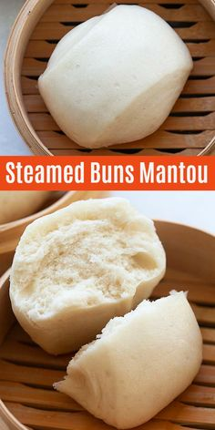 Cotton soft puffy and fluffy steamed buns or mantou. This Chinese steamed buns recipe is easy quick and fail-proof with only 20 minutes active time Asian Desserts, Asian Recipes, My Recipes, Other Recipes, Baking Recipes, Favorite Recipes, Chinese Desserts, Chinese Food, Chinese Bun