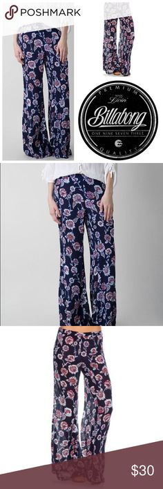 "🆕Billabong Heart Stayed Pant Rise up to on-trend fashion with the Heart Strayed Pant. These palazzo pants bring a 90s element with the high-rise fit and large floral print.  Fabric & Care Hand wash cold. Lay flat to dry. 100% Rayon. Details Pull-on pants. Allover floral wash. Elasticized waistband. Wide leg openings. Metal Billabong logo badge at back center waist. Sizing & Fit High rise fit. 32.5"" inseam. 10.75"" rise. Billabong Pants Boot Cut & Flare"