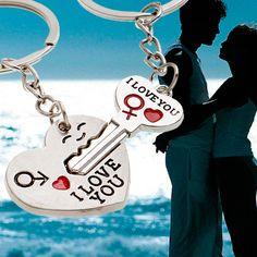 Nouveau llavero pareja porte clef Casual Chaveiro Couple Je LOVEYOU Coeur De Voiture Porte-clés Porte-clés Porte-clés Amant Nouveauté souvenirs Cadeau