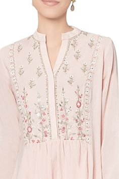 Shop Anita Dongre - Blush cotton georgette tunic Latest Collection Available at Aza Fashions