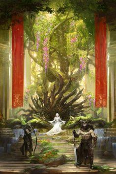 Fantasy Illustration by Kekai Kotaki <<< Cottontakls' Castle of Hope's throne room Fantasy City, Fantasy Places, Fantasy Kunst, Fantasy World, Fantasy Queen, Fantasy Art Men, Fantasy Artwork, Fantasy Concept Art, Art Et Illustration