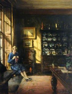 'Winter Sunshine' (1930s or 1940s)  by English artist Frederick William Elwell (1870-1958).