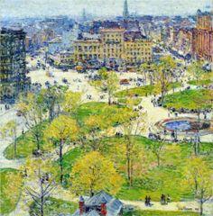Childe Hassam (American: 1859-1935) | Union Square in Spring (1896)