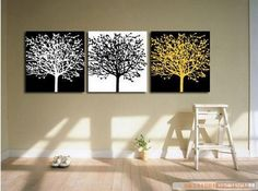 Black and White Art, Abstract Art, Abstract Painting, Canvas Painting, Wall Art, Large Oil Painting, Living Room Wall Art, Modern Art, 3 Piece Wall Art, Huge Painting, Tree Painting