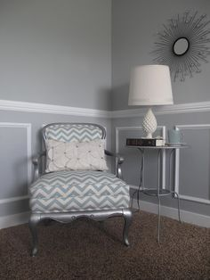 This is the color I want to paint our living room. With high gloss white chair rail and moldings. the chair is pretty beautiful as well, but light colored upholstry doesn't go well with my life.