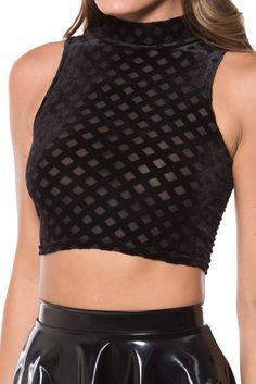 Burned Diamond High Neck Crop (WW $45AUD / US $40USD) by Black Milk Clothing
