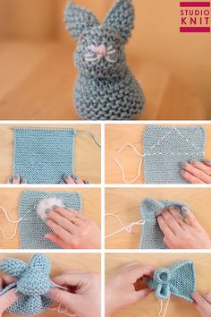 These are the easiest knitted bunnies! Learn How to Knit a Bunny from a Square with Video Tutorial by Studio Knit. knitting for beginners knitting ideas knitting patterns knitting projects knitting sweater Crochet Amigurumi, Crochet Baby, Knit Crochet, Crochet Food, Crochet Dolls, Knitting Socks, Free Knitting, Baby Knitting, Knitting Videos