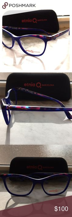 Etnia Barcelona blue and pink acetate optical Etnia Barcelona Galaway  Size 49 Made in Spain They are a blue cat eye shape . Pink and blue coloring outlines the top of the lens and on the side. Never worn, ready to put your prescription in.  They come with demo lenses, no prescription in them. etnia barcelona Accessories Glasses