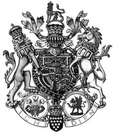 Reading the motto and symbols from right to left, the following message is possibly conveyed : Ich, the Black Prince, Dien the Red Dragon (I, the Black Prince, serve the Red Dragon) http://philologos.org/bpr/files/misc_studies/ms022.htm