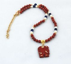 Red Jasper Elephant Pendant with Red by RivendellRockJewelry