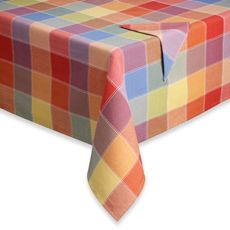 Summer Check Tablecloth and Napkins, 100% Cotton - Bed Bath & Beyond Cute for the summer.