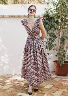 Vintage style dress ANNA from Spring/Summer 2018 collection. Vintage style dress ANNA from Spring/Summer 2018 collection. Modest Dresses, Simple Dresses, Beautiful Dresses, Casual Dresses, Fashion Dresses, Summer Dresses, Dress Skirt, Dress Up, Vintage Mode