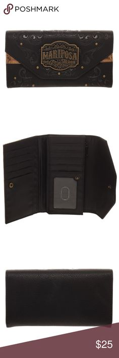 """HBO's WestWorld Mariposa Saloon Women's Wallet Very nice women's wallet that features decorative scrollwork and the Mariposa Saloon emblem on the front.  Inside there's plenty of room for cards and money.  Officially Licensed, made by Bioworld.  Color: Black Style: Flap Brand: Bioworld Measurements:  Approx. 7"""" x 4"""" when closed  CONDITION - New  Makes a great gift for any fan of WestWorld!  Makes a great gift!  Check out my Posh for more WestWorld items! Bioworld Bags Wallets"""