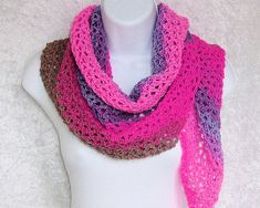 Crocheted from a soft, lightweight acrylic yarn in zingy shades of pink, grounded with with dusty purple and taupe color bands. This versatile shawlette is Light Scarves, Dusty Purple, Taupe Color, Color Stripes, Handicraft, Crochet Necklace, How To Make, Pink, Etsy