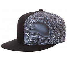 Metal Mulisha Skull Cap Flexfit Hat Black headwear mens flexible  73fc8bcef
