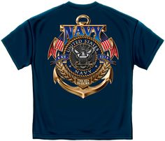 3088e8e60c2 Erazor Bits T-Shirt - United States Navy Logo - Sea Is Ours - 1775 - Navy  Construction  cotton preshrunk jersey Sizes