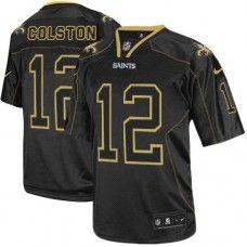 NFL  Men's Elite Nike New Orleans Saints #12 Marques Colston Lights Out Black Jersey