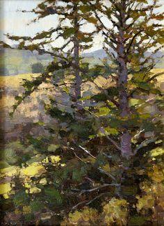 ~ Jim McVicker - Spruce Trees,  oil on linen on panel