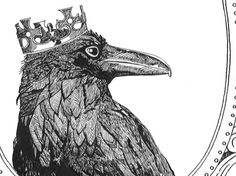 "'The Raven King' by Hannah of Old Wives Tales on Etsy: ""[The] rather odd tradition… that King Arthur turned into a raven, or perhaps Cornish Chough ... a bird strongly associated with myth and legend. In Wales and the West Country, it was held to be a royall bird."""