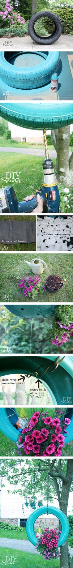 Jardinera colgante con un neumatico   Muy Ingenioso by arioco