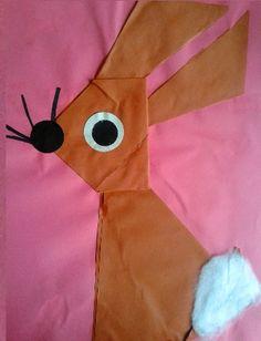 (Wild) Konijn vouwen en kleven Teaching Kids, Origami, Projects, Log Projects, Blue Prints, Origami Paper, Origami Art, Kids Learning
