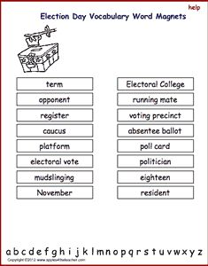 Election Day vocabulary words, interactive word magnet game, vocabulary magnet games, arrange the magnets in alphabetical order.