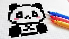 Handmade Pixel Art - How To Draw Kawaii Panda #pixelart