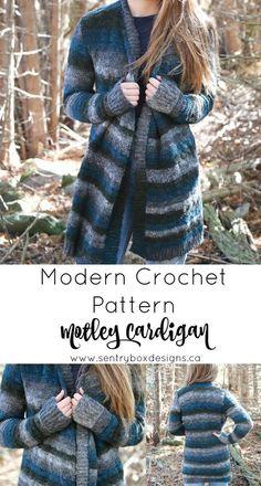 Ravelry: Motley Cardigan pattern by Sentry Box Designs crochet Crochet Coat, Crochet Jacket, Crochet Clothes, Crochet Baby, Crochet Sweaters, Crochet Winter, Crochet Blankets, Modern Crochet Patterns, Knitting Patterns