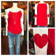 Happy February ❤️ kittens !! No better way than to start off the month of luv , than w this lil cutie red and white raglan w heart elbow sleeves 😍 $28 ...fit is true sm-lg // silver triple  strand tassel necklace $24  Comment to hold for pick up 🛍 Karismaboutiqueshop.com to 📬  #karismaboutique #shoplocal #love #valentinesday #heart #newarrivals