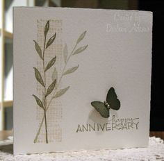 Stamps: The Art of Life, Mike's $1 stamp   Paper: Fabriano's notecards   Ink: True Thyme, Creamy Caramel   Accessories: MS butterfly punch, micro brads