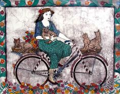 Artwork of Anine Barnard exhibited at Robertson Art Gallery. Original art of more than 60 top South African Artists - Since African Colors, Bicycle Art, Bike, Mixed Media Sculpture, South African Artists, Painting Of Girl, 2d Art, Cool Cats, Art Girl