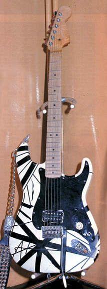 The original color scheme of Eddie Van Halens guitar before he painted it red