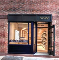 Aesop, known in design circles for their cool shop interiors. The Bleecker street shop, designed by Melbourne based March Studio Deco Restaurant, Restaurant Design, Shop Front Design, Store Design, Facade Design, Exterior Design, Aesop Shop, Retail Facade, Bleecker Street
