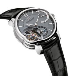T24S: White gold case and black gold dial. The T24S features a single inclined tourbillon cage. A distinctive asymmetrical case allows for a comfortable case size as well as an additional side window to further appreciate the tourbillon mechanism. http://www.greubelforsey.com/T24SI.asp