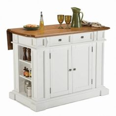Home Styles Kitchen Island ($745) ❤ liked on Polyvore featuring home, furniture, storage & shelves, sideboards, white, kitchen island, white storage shelf, storage buffet, home styles buffet and door storage shelves