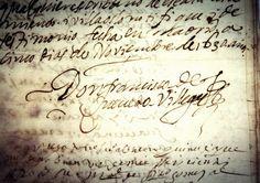 Borges todo el año: Jorge Luis Borges: Menoscabo y grandeza de Quevedo - Imagen: Firma de Quevedo en un manuscrito conservado en la casa museo de Torre de Juan Abad