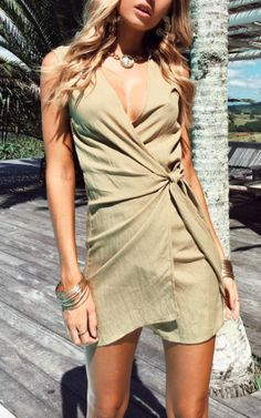 Khaki green playsuit | Pin: Heatonminded Green Outfits, Khaki Green, Playsuit, Different Styles, Trendy Outfits, Wrap Dress, Jumpsuit, Popular, Color