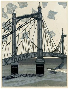 The Albert Bridge   Linocut. Edition of 75