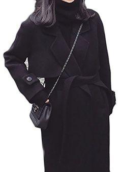 f9a4431ebf4b ARRIVE GUIDE Women s Casual Lapel Windproof Wool Blend Overcoat Long Coat  Black Medium Classy Winter Outfits